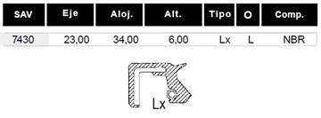 Imagen de RETEN (23X34X6) TRANSMISION MOTO JIALING 50