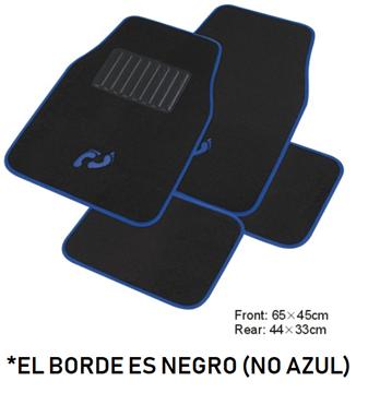 Imagen de JUEGO DE ALFOMBRAS DE MOQUETTE COLOR NEGRA CON HUELLA AZUL