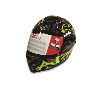 Imagen de CASCO INTEGRAL PARA MOTO MULTI COLOR FLUORESENTE