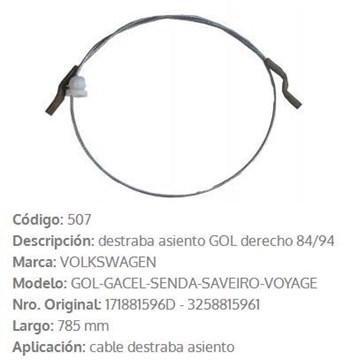 Imagen de CABLE DE ASIENTO DERECHO VW GOL/SANTANA/PARATI/SAVEIRO 785MM