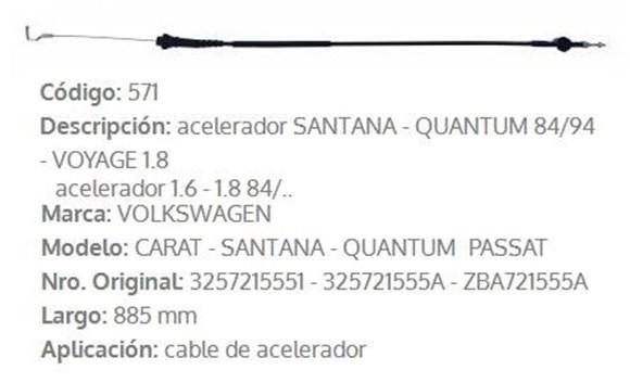 Imagen de CABLE DE ACELERADOR VW SANTANA/PASSAT HASTA 1991 885MM