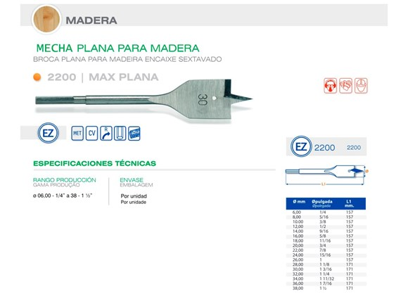 "Imagen de MECHA CARPINTERO PLANA DIAM 18.00 MM - 11/16"""