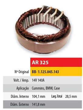 Imagen de ESTATOR 12V 140AMP CUMMINS/CASE/BMW (104,1X141,8X28,5)
