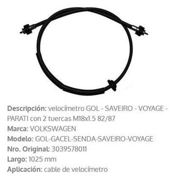 Imagen de CABLE CUENTA KILOMETRO VW GOL/AMAZON/PARATI 1000MM