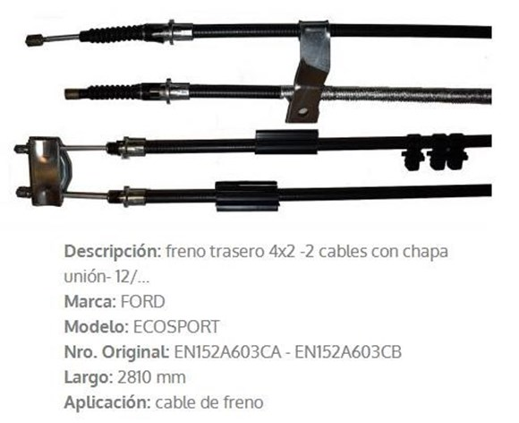 Imagen de CABLE DE FRENO TRASERO FORD ECOSPORT 4X2 2012 2810M