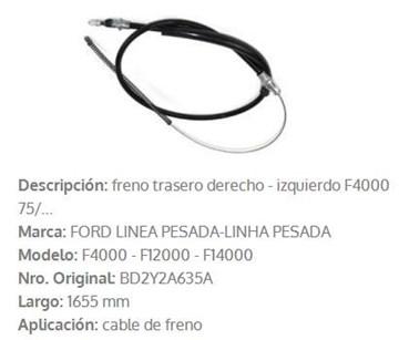 Imagen de CABLE DE FRENO TRASERO FORD F4000 1975 1630MM