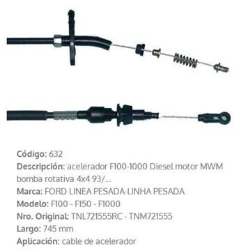 Imagen de CABLE DE ACELERADOR FORD F1000 1993 745MM