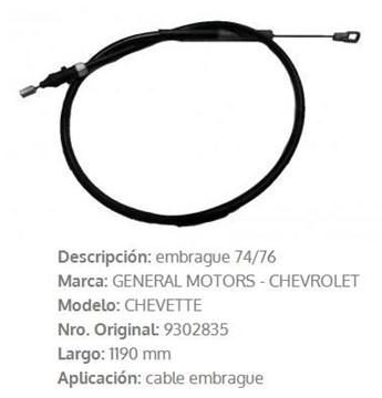 Imagen de CABLE DE EMBRAGUE CHEVETTE 1975/76 1172MM