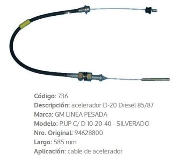 Imagen de CABLE DE ACELERADOR CHEVROLET D20 585MM