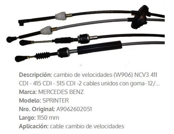 Imagen de CABLE CAMBIO VELOCIDAD M-BENZ SPRINTER 415/515 2012>1150MM