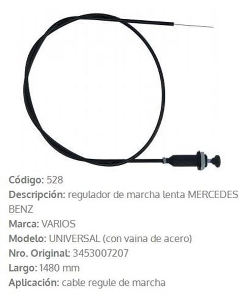 Imagen de CABLE ESTRANGULADOR MERCEDES BENZ OMNIBUS OH1313 1480MM
