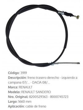 Imagen de CABLE DE FRENO DER/IZQ RENAULT LOGAN/SANDERO 1660MM