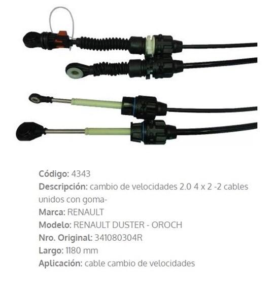 Imagen de CABLE SELECTOR DE CAMBIOS RENAULT DUSTER 2.0 4X2