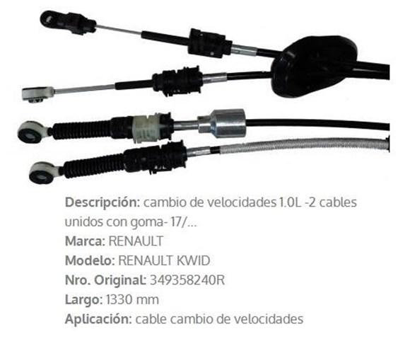 Imagen de CABLE SELECTOR DE CAMBIOS RENAULT KWID (2 CABLES) 1330MM