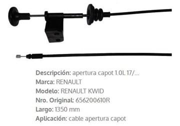 Imagen de CABLE APERTURA DE CAPOT RENAULT KWID 1350MM